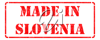Made in Slovenia inscription on Red Rubber Stamp Isolated on White.