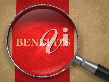 Benefits through Magnifying Glass on Old Paper with Red Vertical Line.