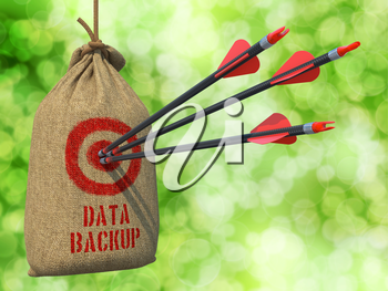 Data Backup - Three Arrows Hit in Red Target on a Hanging Sack on Green Bokeh Background.