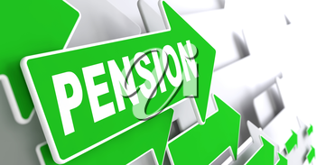 Pension on Direction Sign - Green Arrow on a Grey Background.