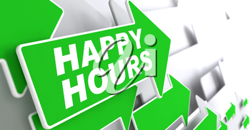 Happy Hours on Direction Sign - Green Arrow on a Grey Background.