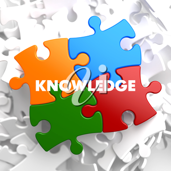 Knowledge on Multicolor Puzzle on White Background.