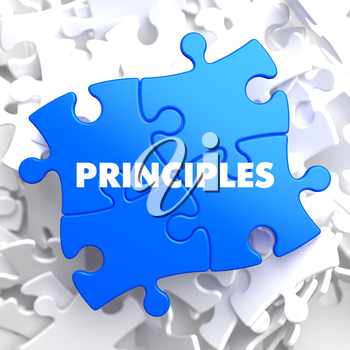 Principles on Blue Puzzle on White Background.