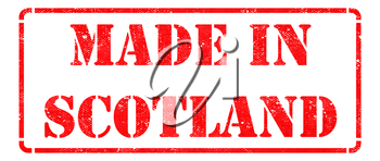 Made in Scotland - inscription on Red Rubber Stamp Isolated on White.