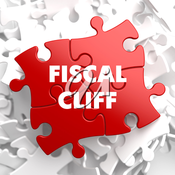 Fiscal Cliff on Red Puzzle on White Background.