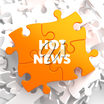 Hot News on Orange Puzzle on White Background.