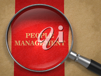 People Management. Magnifying Glass on Old Paper with Red Vertical Line.