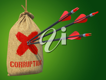 Corruption - Three Arrows Hit in Red Target on a Hanging Sack on Green Background.
