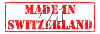 Made in Switzerland- inscription on Red Rubber Stamp Isolated on White.