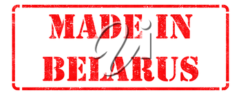 Made in Belarus - inscription on Red Rubber Stamp Isolated on White.