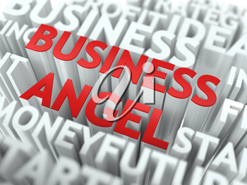 Business Angel- Red Word on White Wordcloud Concept.