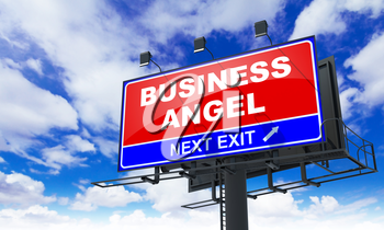 Business Angel - Red Billboard on Sky Background. Business Concept.