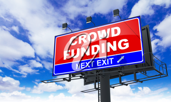 Crowd Funding - Red Billboard on Sky Background. Business Concept.