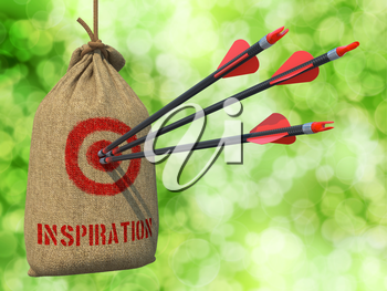 Inspiration - Three Arrows Hit in Red Target on a Hanging Sack on Green Bokeh Background.