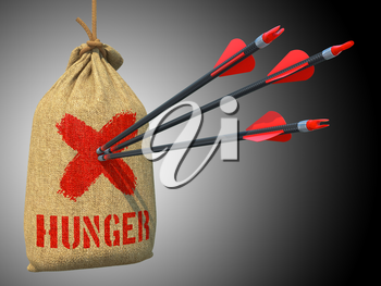 Hunger - Three Arrows Hit in Red Target on a Hanging Sack on Green Bokeh Background.