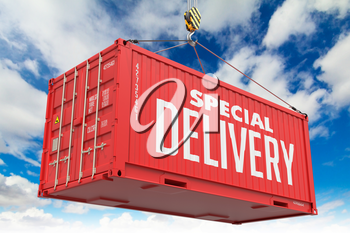 Special Delivery - Red Hanging Cargo Container on Sky Background.