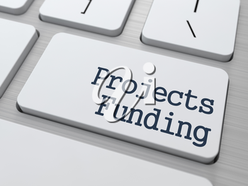 Projects Funding Concept. Button on Modern Computer Keyboard with Word Partners on It.