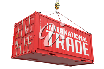 International Trade - Red Cargo Container hoisted with hook Isolated on White Background.