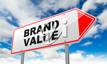 Brand Value - Inscription on Red Road Sign on Sky Background.