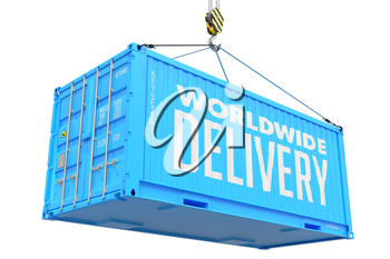 World Wide Delivery - Blue Cargo Container hoisted with hook Isolated on White Background.