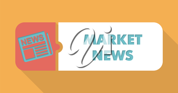 Market News Button in Flat Design with Long Shadows on Blue Background.