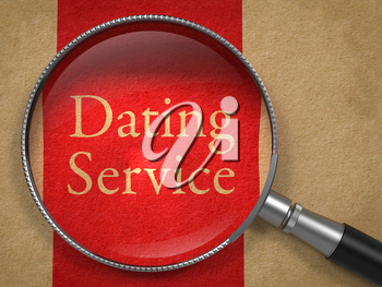 Dating Service through Magnifying Glass on Old Paper with Red Vertical Line.