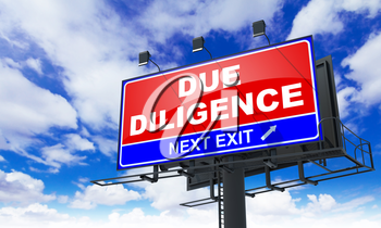 Due Diligence - Red Billboard on Sky Background. Business Concept.