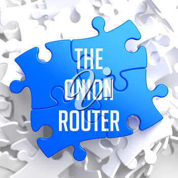 The Onion Router - Blue Puzzle on White Background.