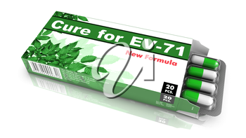Cure for EV-71, Pills Blister getting out from Green Box over White Background.