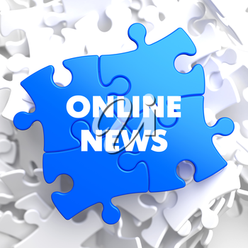 Online News on Blue Puzzle on White Background.