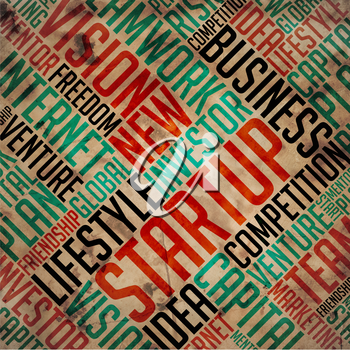 Startup - Grunge Printed Word Collage on Old Fulvous Paper.