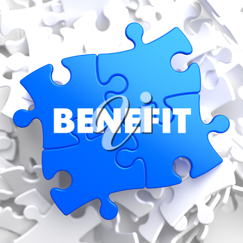 Benefit on Blue Puzzle on White Background.