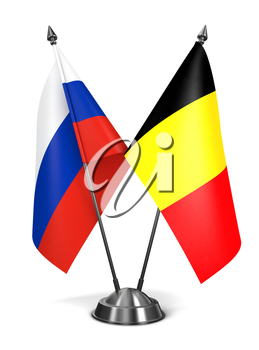 Russia and Belgium - Miniature Flags Isolated on White Background.