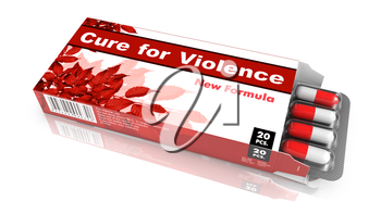 Cure for Violence - Red Open Blister Pack Tablets Isolated on White.