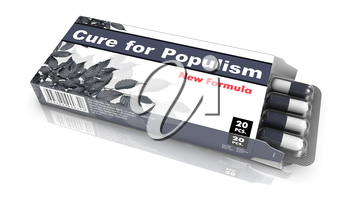 Cure for Populism - Grey Open Blister Pack Tablets Isolated on White.