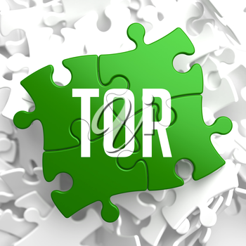 TOR - Green Puzzle on White Background.