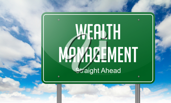 Highway Signpost with Wealth Management wording on Sky Background.