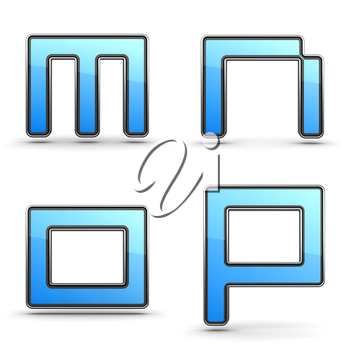 Letters M, N O, P - Set of 3D Alphabet in Touchpad Style.