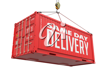 Same Day Delivery - Red Cargo Container hoisted by hook, Isolated on White Background.