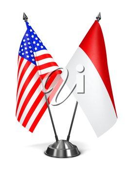 USA and Indonesia - Miniature Flags Isolated on White Background.