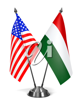 USA and Hungary - Miniature Flags Isolated on White Background.