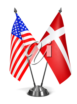 USA and Denmark - Miniature Flags Isolated on White Background.