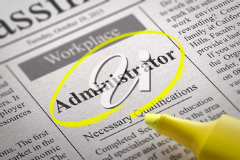 Administrator Jobs in Newspaper. Job Seeking Concept.