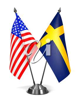 USA and Sweden - Miniature Flags Isolated on White Background.