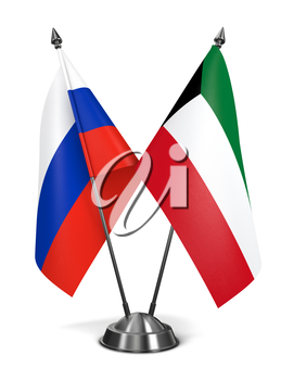 Russia and Kuwait - Miniature Flags Isolated on White Background.