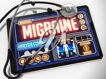 Migraine - Diagnosis on the Display of Medical Tablet and a Black Stethoscope on White Background.