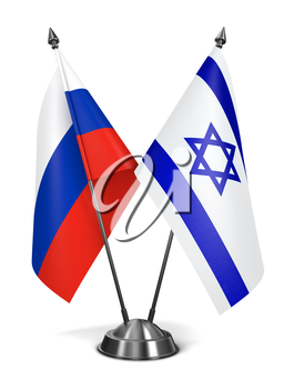 Russia and Israel - Miniature Flags Isolated on White Background.