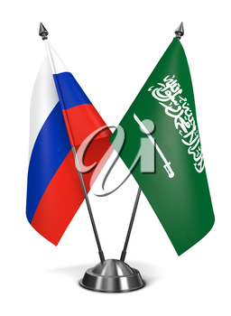 Russia and Saudi Arabia - Miniature Flags Isolated on White Background.