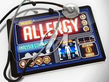 Medical Tablet with the Diagnosis of Allergy  on the Display and a Black Stethoscope on White Background.