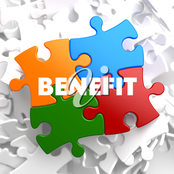 Benefit on Multicolor Puzzle on White Background.
